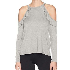 beyond yoga // gray cold shoulder frill pullover